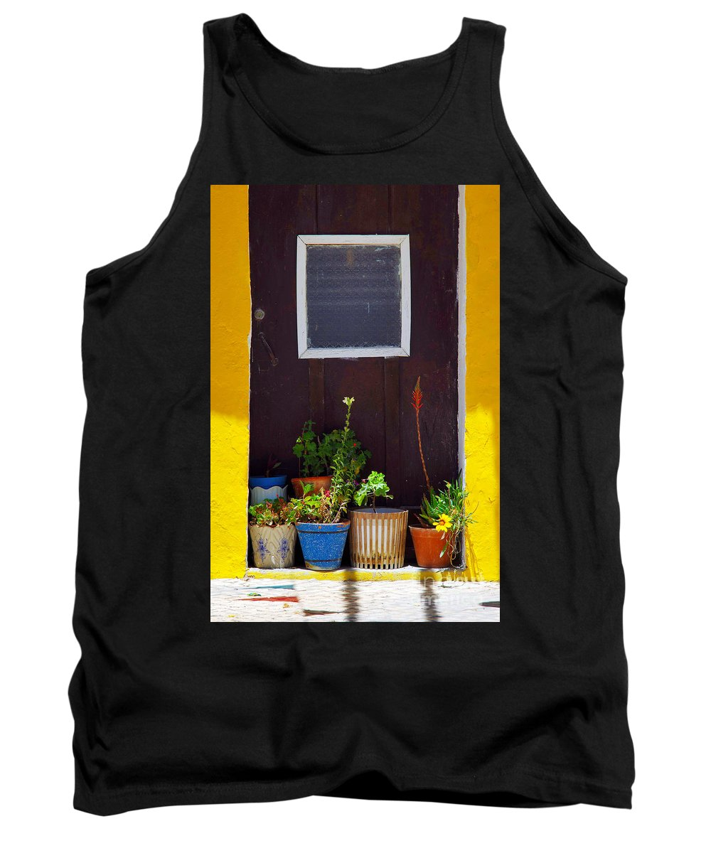 Arrangements Tank Top featuring the photograph Vases On The Doorway by Carlos Caetano