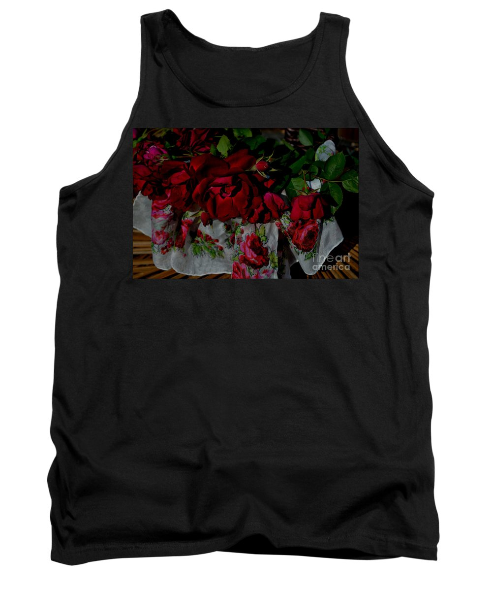 Flowers In A Basket Tank Top featuring the photograph Red Velvet Roses by Luv Photography
