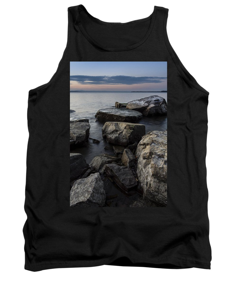 Vermont Tank Top featuring the photograph Vermont Lake Champlain Sunset Cloudscape Rocks by Andy Gimino