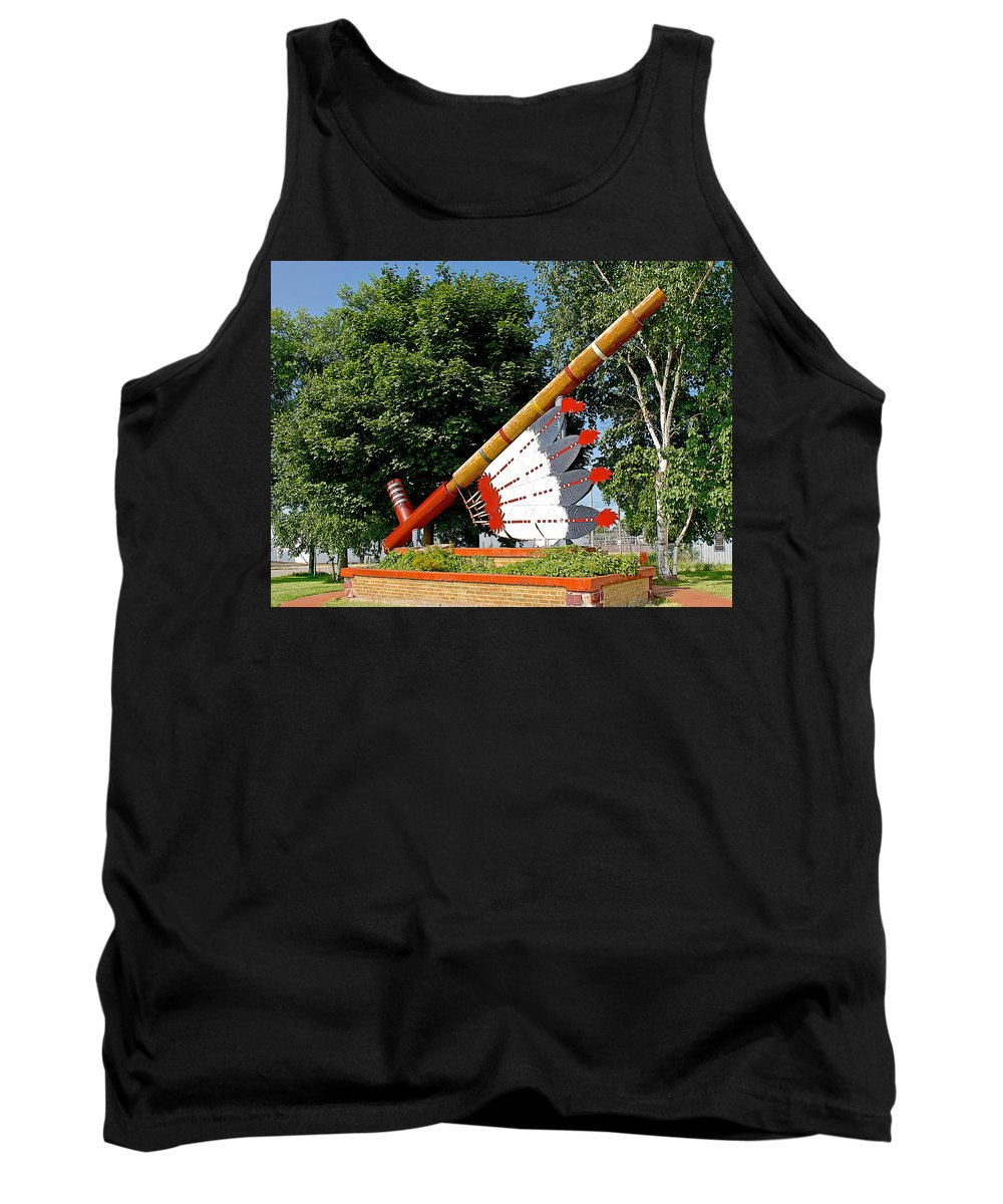 Very Large Pipestone Pipe Sculpture By Former Rock Island Line Railroad Depot In Pipestone Tank Top featuring the photograph Very Large Pipestone Pipe Sculpture By Former Rock Island Line Railroad Depot In Pipestone-minnesota by Ruth Hager