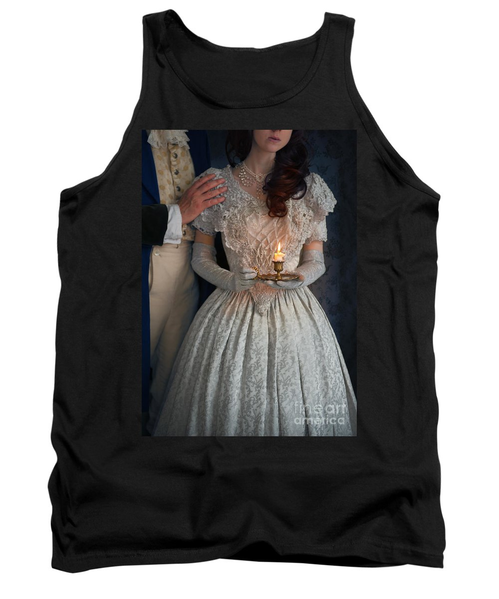 Regency Tank Top featuring the photograph Victorian Couple At Night With Candle by Lee Avison
