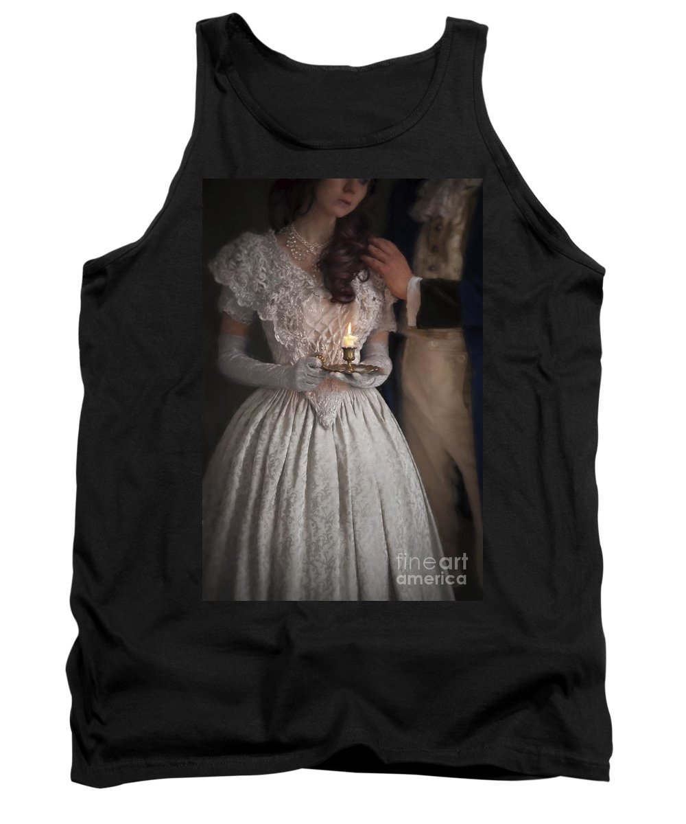 Regency Tank Top featuring the photograph Victorian Couple By Candlelight by Lee Avison