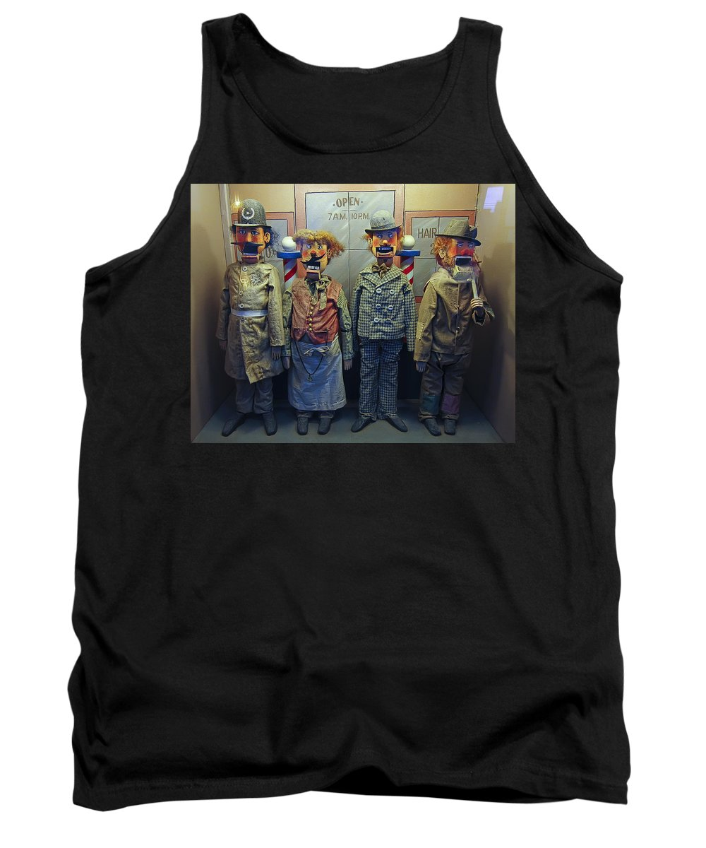 san Francisco Tank Top featuring the photograph Victorian Musee Mecanique Automated Puppets - San Francisco by Daniel Hagerman