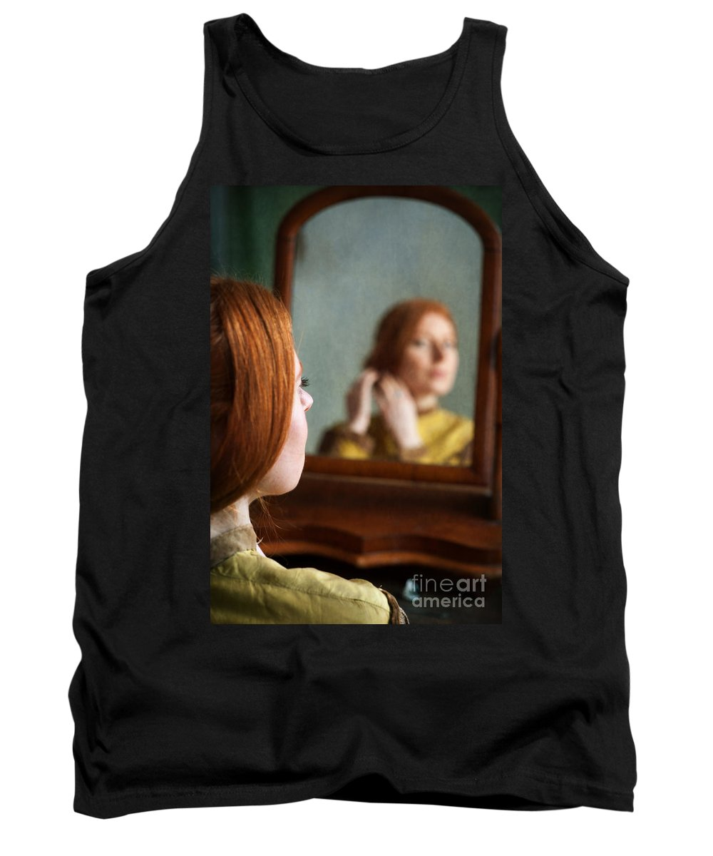 Victorian Tank Top featuring the photograph Victorian Woman Using A Dressing Table Mirror by Lee Avison
