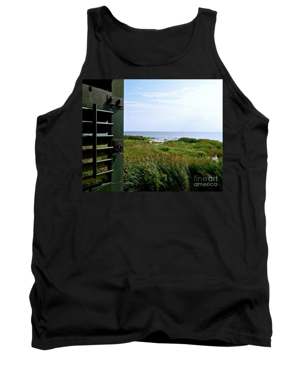 East Point Lighthouse Tank Top featuring the photograph View From The Window At East Point Light by Nancy Patterson