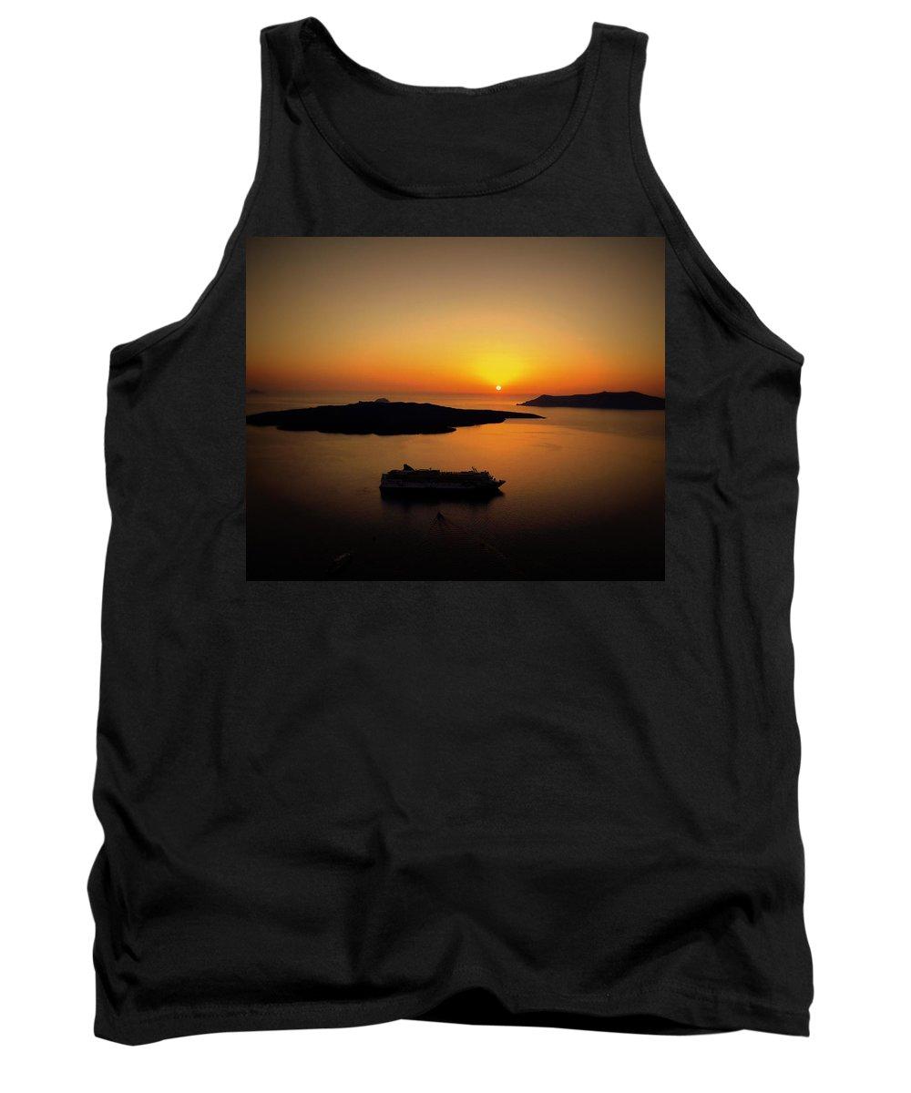 Santorini Tank Top featuring the photograph View Of Santorini Greece by Richard Rosenshein
