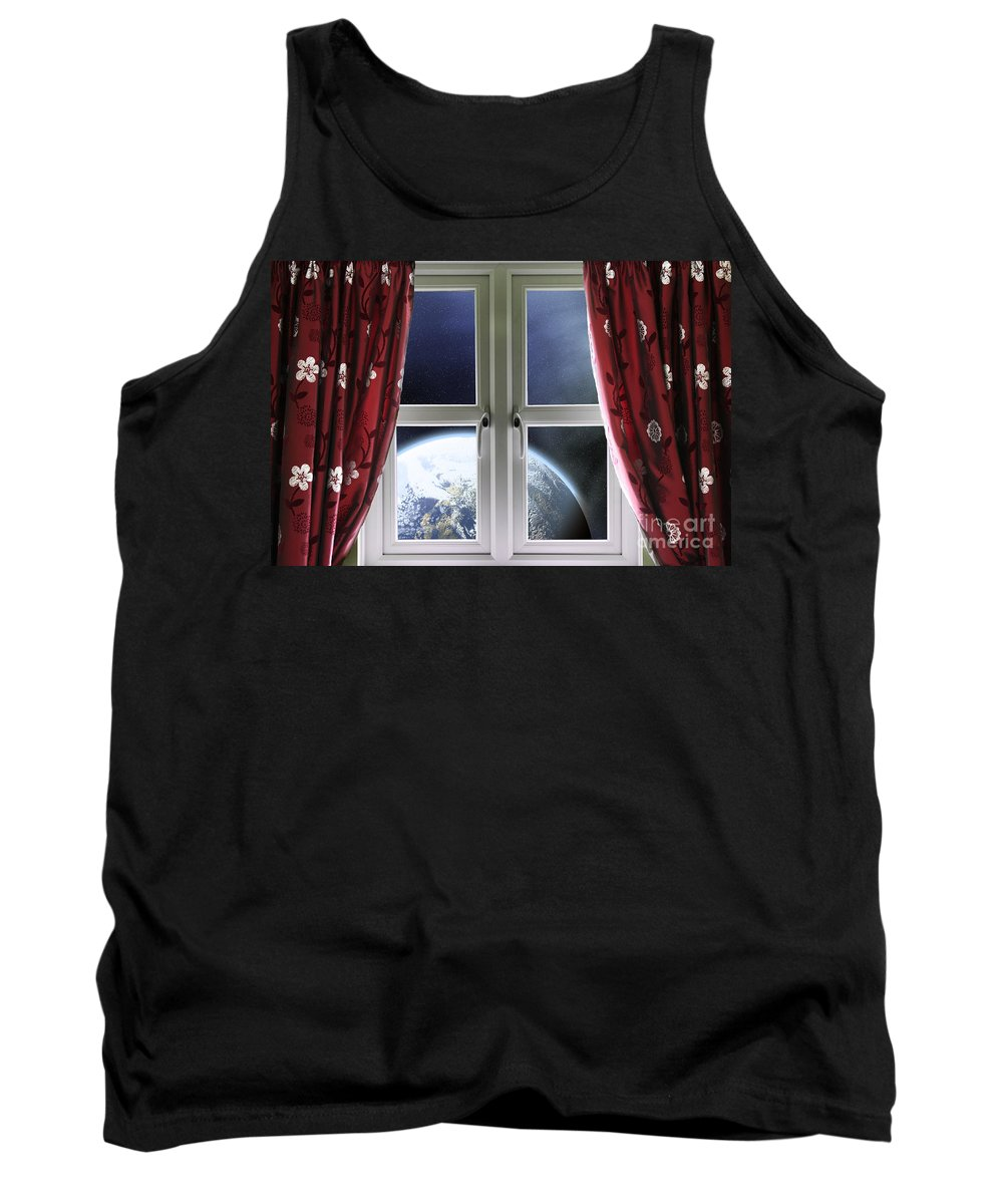 Window Tank Top featuring the photograph View Of The Earth Through A Window With Curtains by Simon Bratt Photography LRPS
