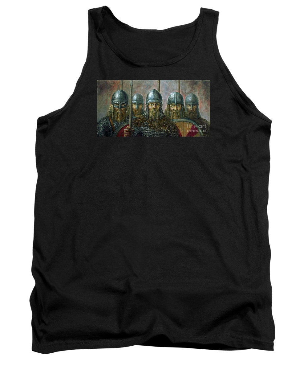 Warrior Tank Top featuring the painting Vikings by Arturas Slapsys