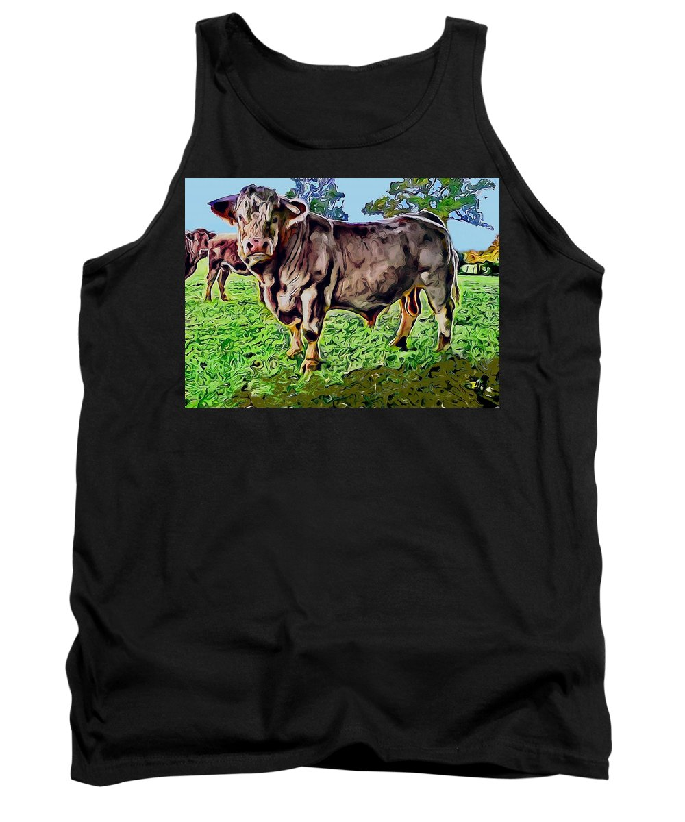 A Very Handsome One Horn Bull In A Meadow Tank Top featuring the photograph Vince The Bull by Annick Portal