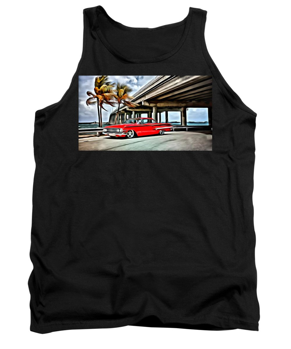 Car Tank Top featuring the painting Vintage Chevy Impala by Florian Rodarte