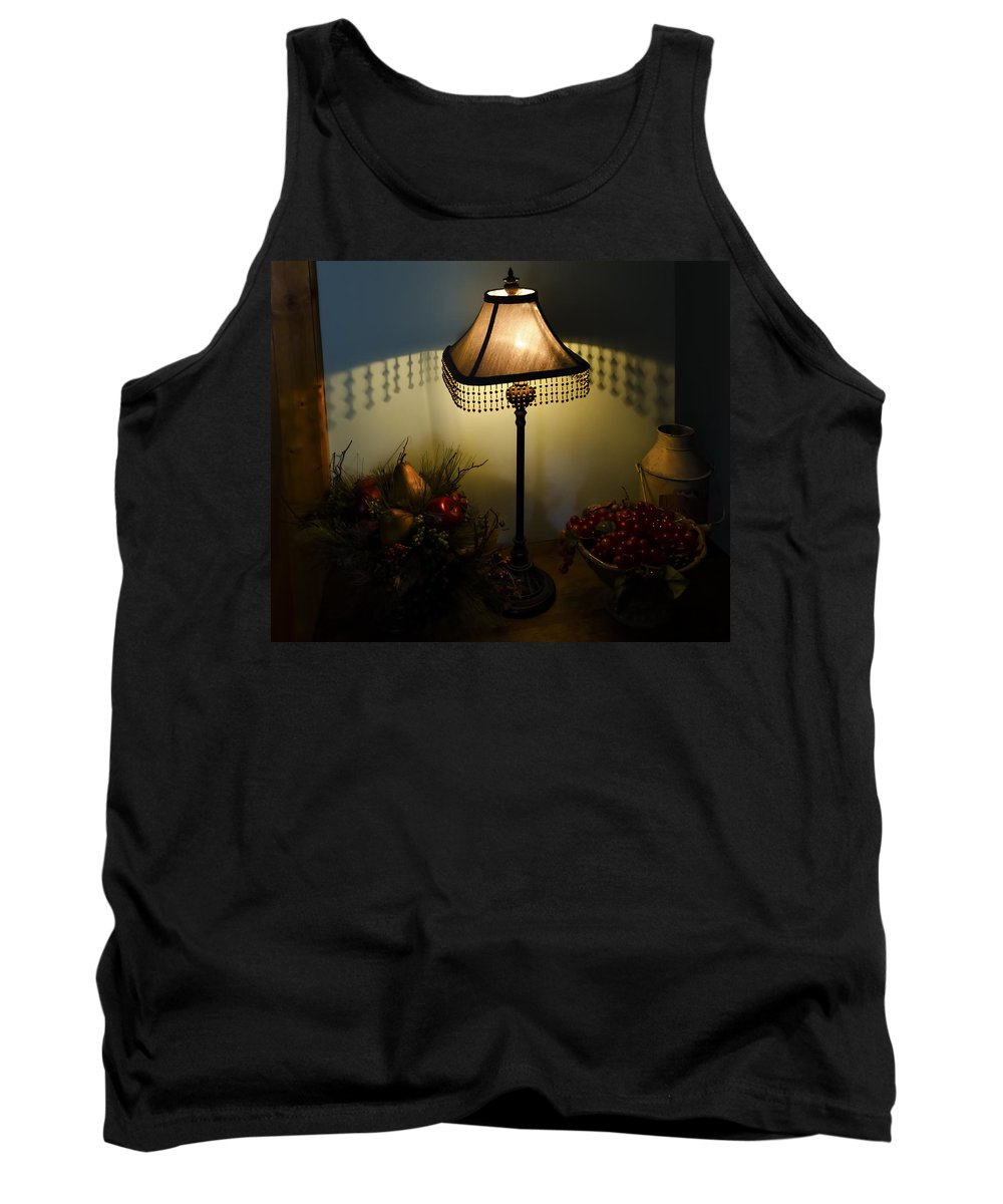 Vintage Still Life And Lamp Tank Top featuring the photograph Vintage Still Life And Lamp by Greg Reed