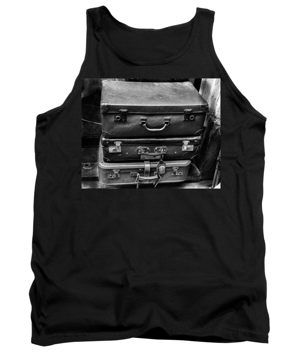 Traveler Tank Top featuring the photograph Vintage Suitcases by Dany Lison