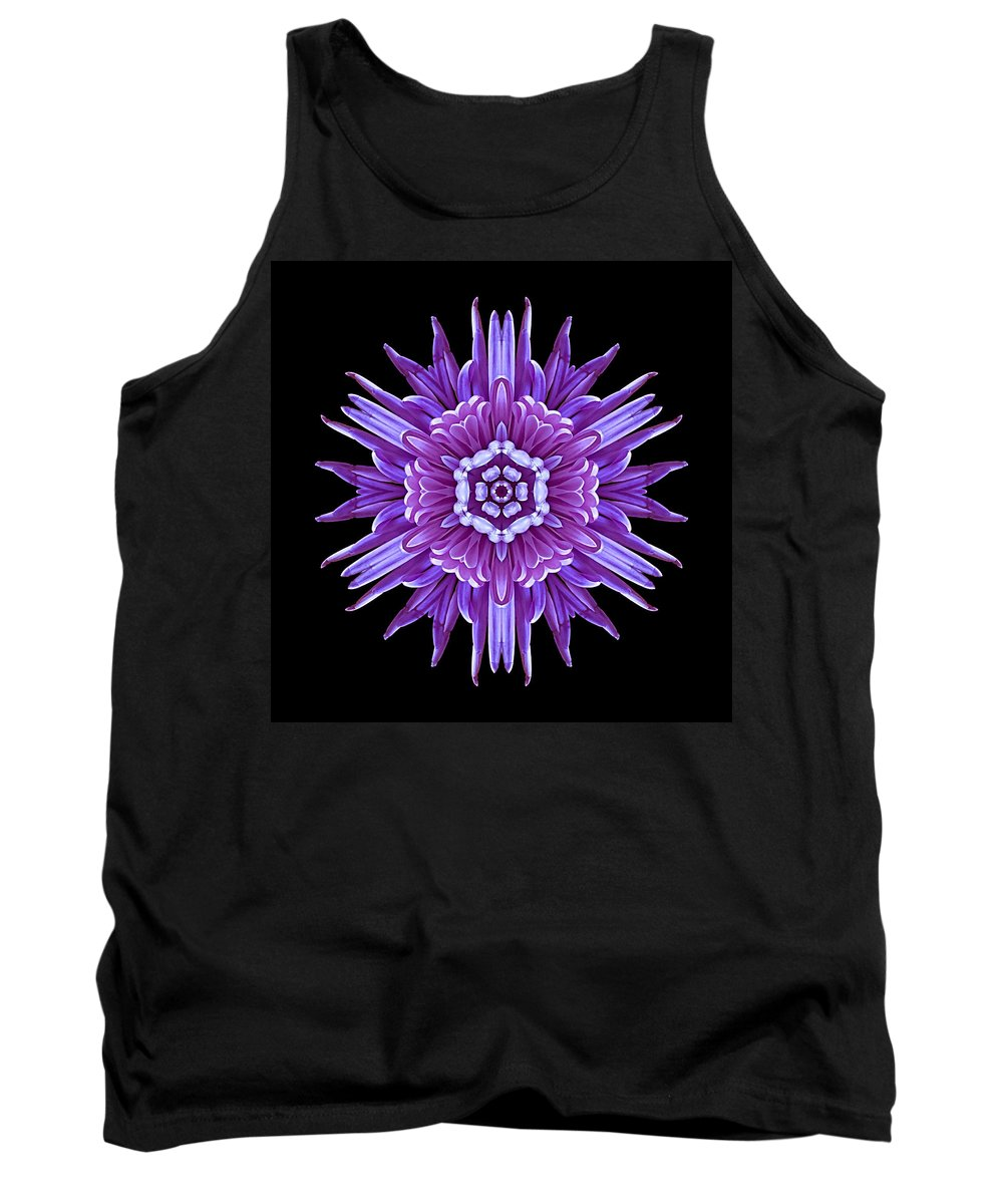 Flower Tank Top featuring the photograph Violet Chrysanthemum Iv Flower Mandala by David J Bookbinder