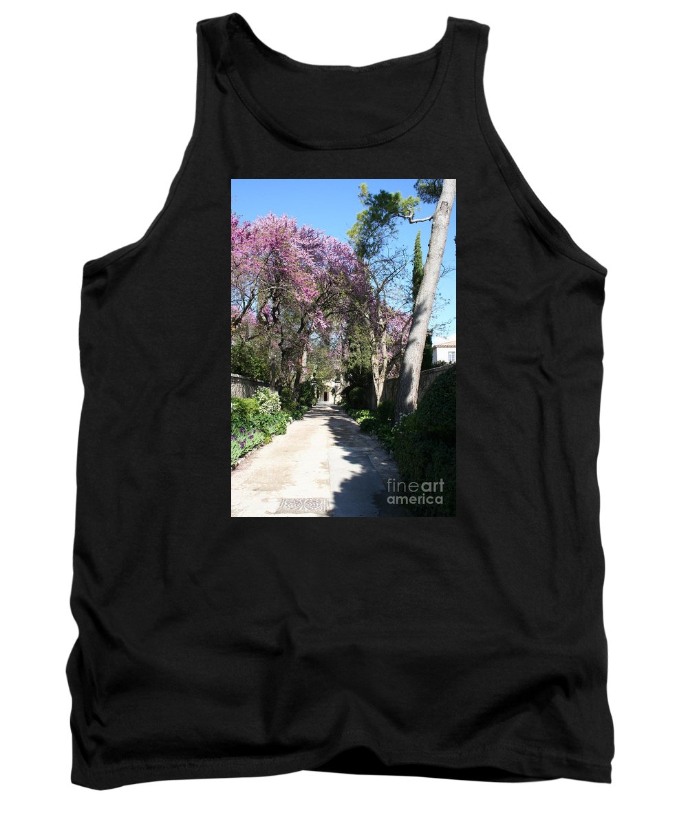 Alley Tank Top featuring the photograph Violet Tree Alley by Christiane Schulze Art And Photography