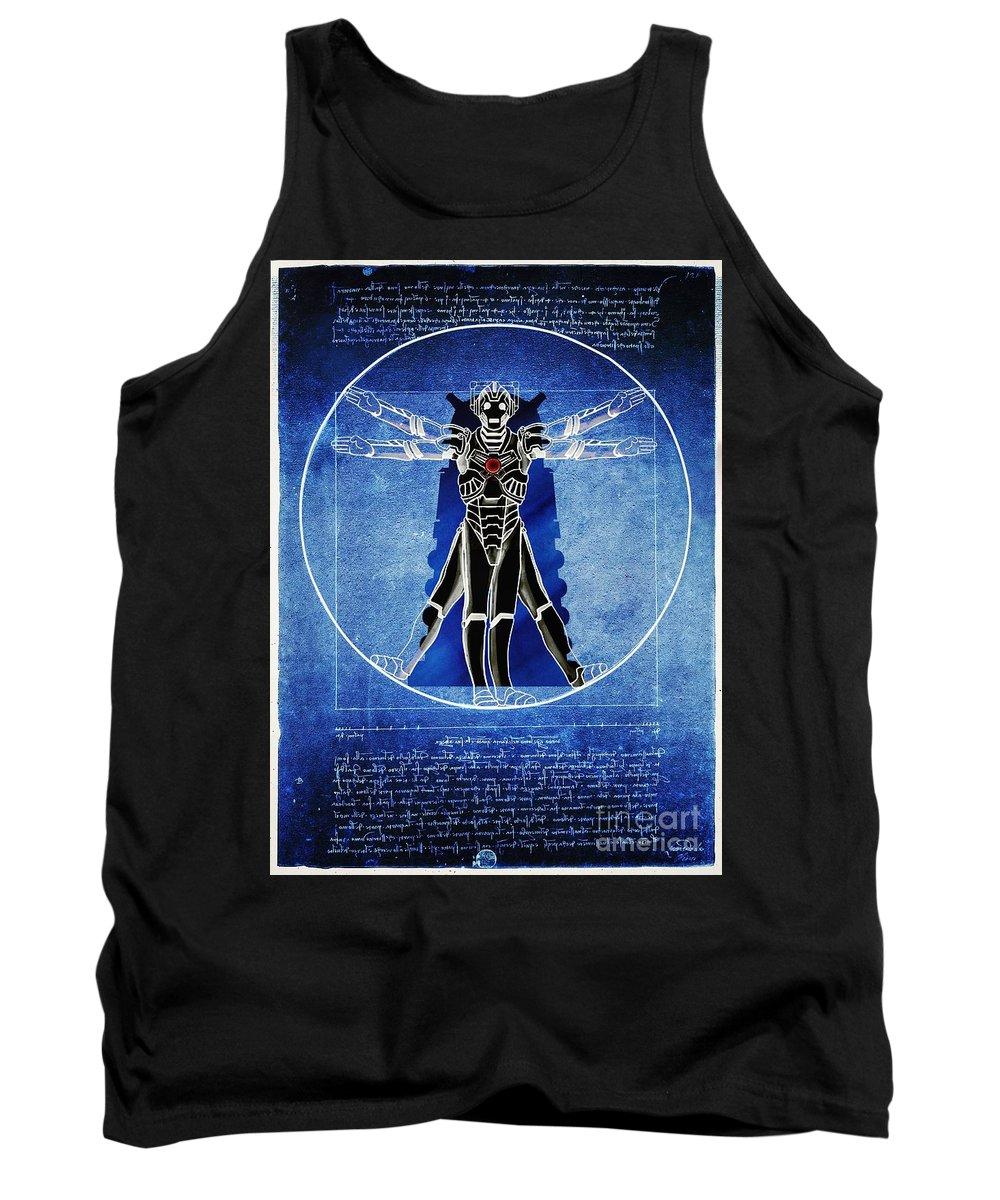 Cyberman Tank Top featuring the digital art Vitruvian Cyberman In Deep Space by Helge