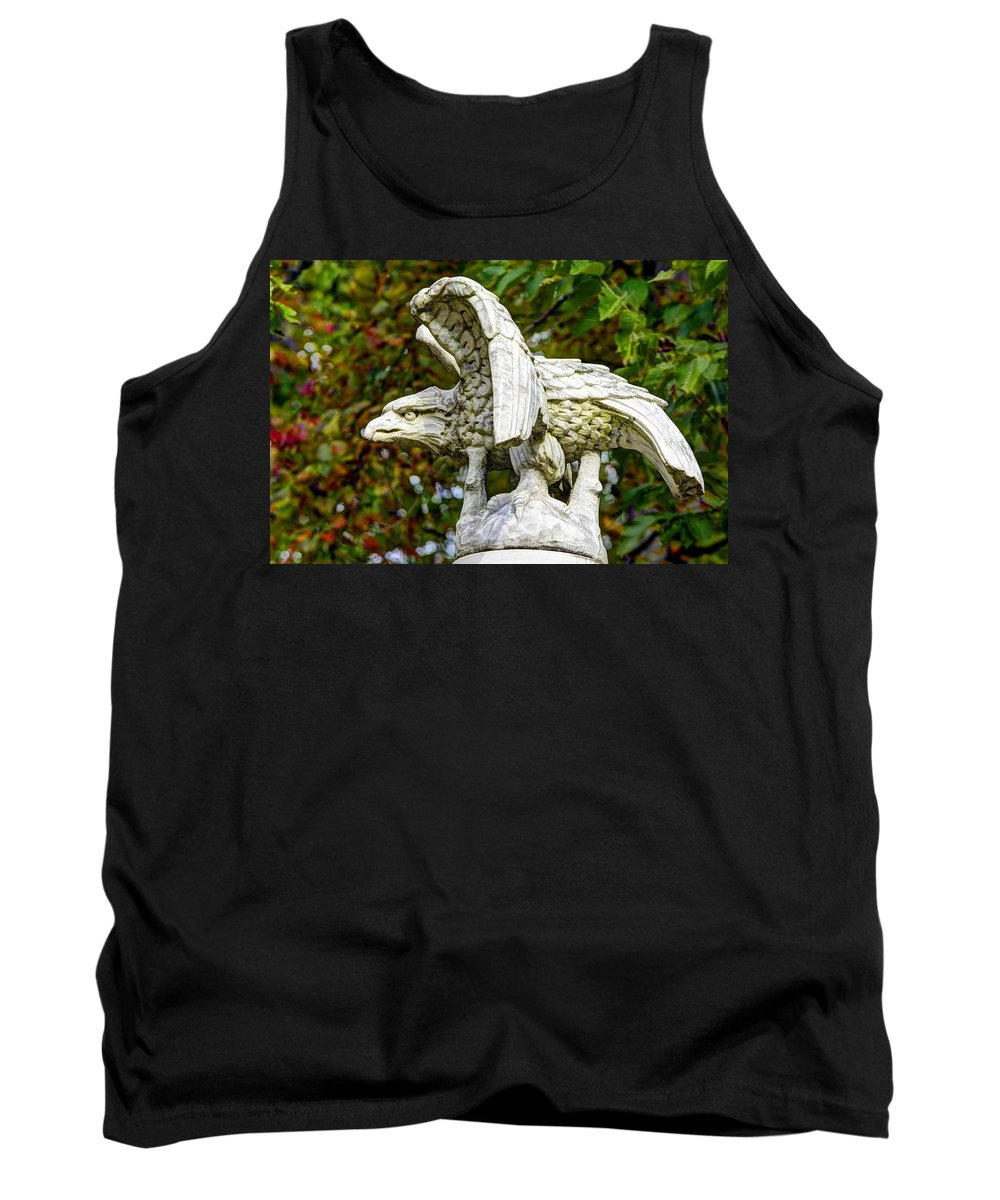 Civil War Tank Top featuring the photograph War Eagles - Vermont Company F 1st U. S. Sharpshooters Pitzer Woods Gettysburg by Michael Mazaika