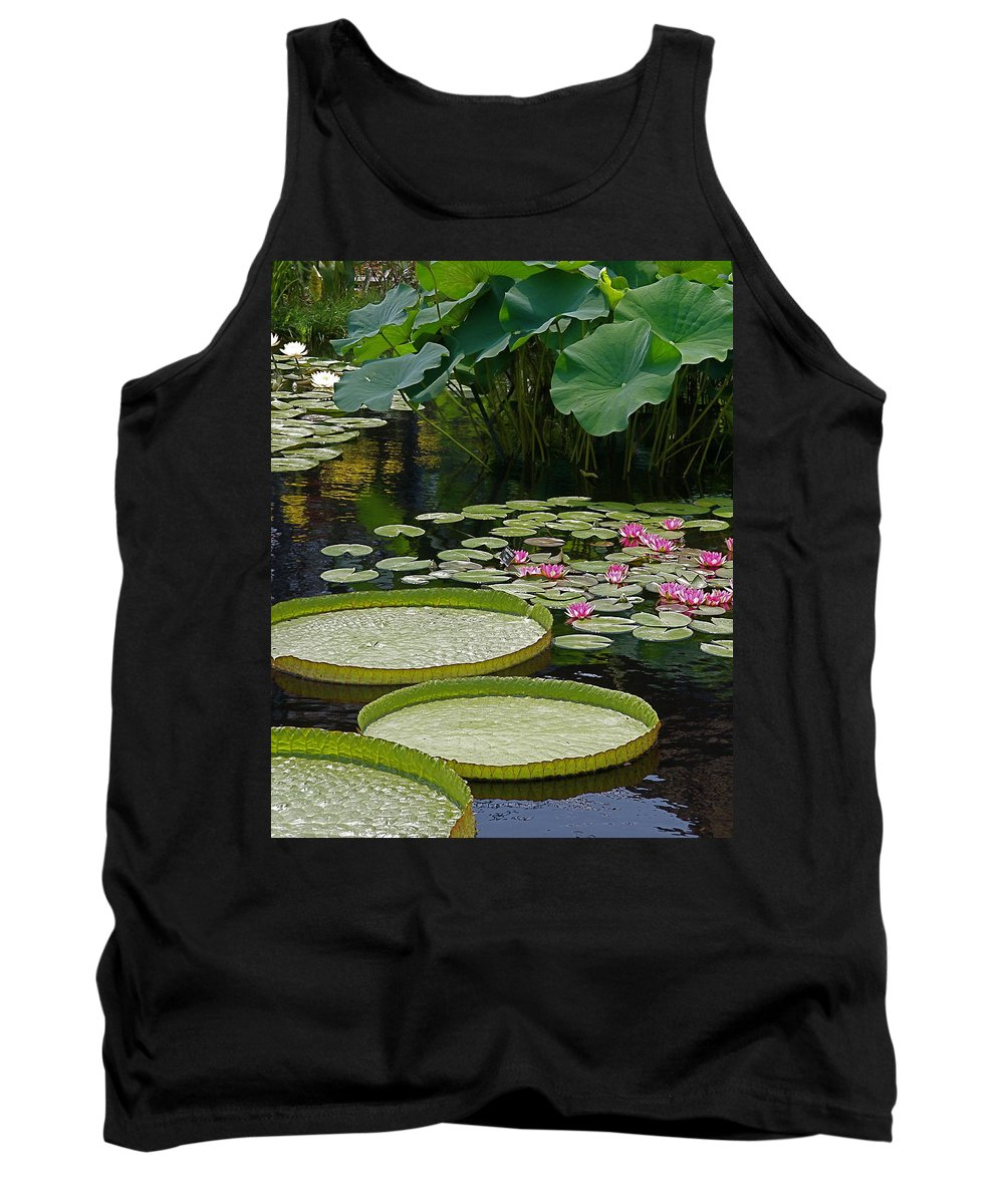 Water Lilies Tank Top featuring the photograph Water Lilies And Platters And Lotus Leaves by Byron Varvarigos