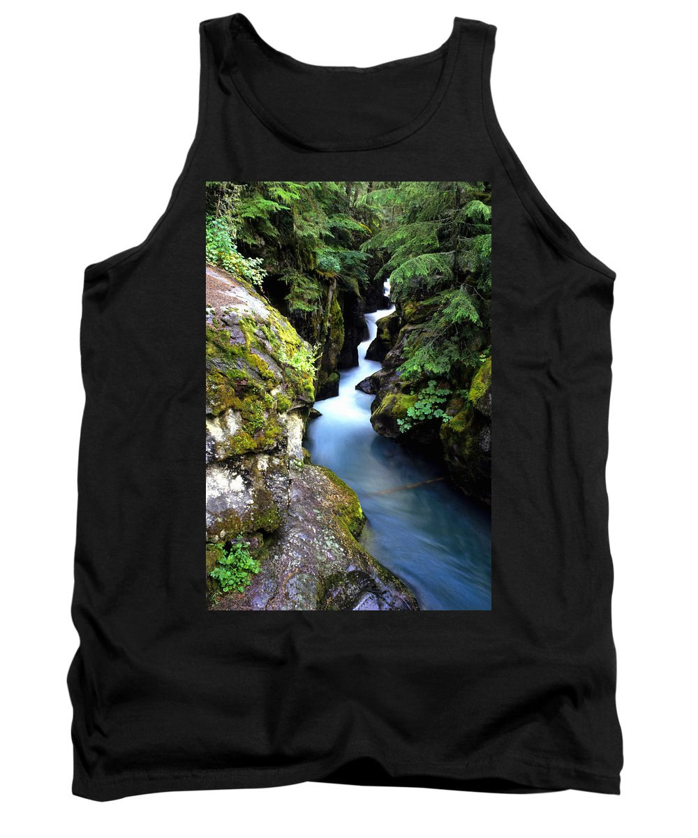 Brightness Tank Top featuring the photograph Waterfall, Glacier National Park by Bill Bachmann
