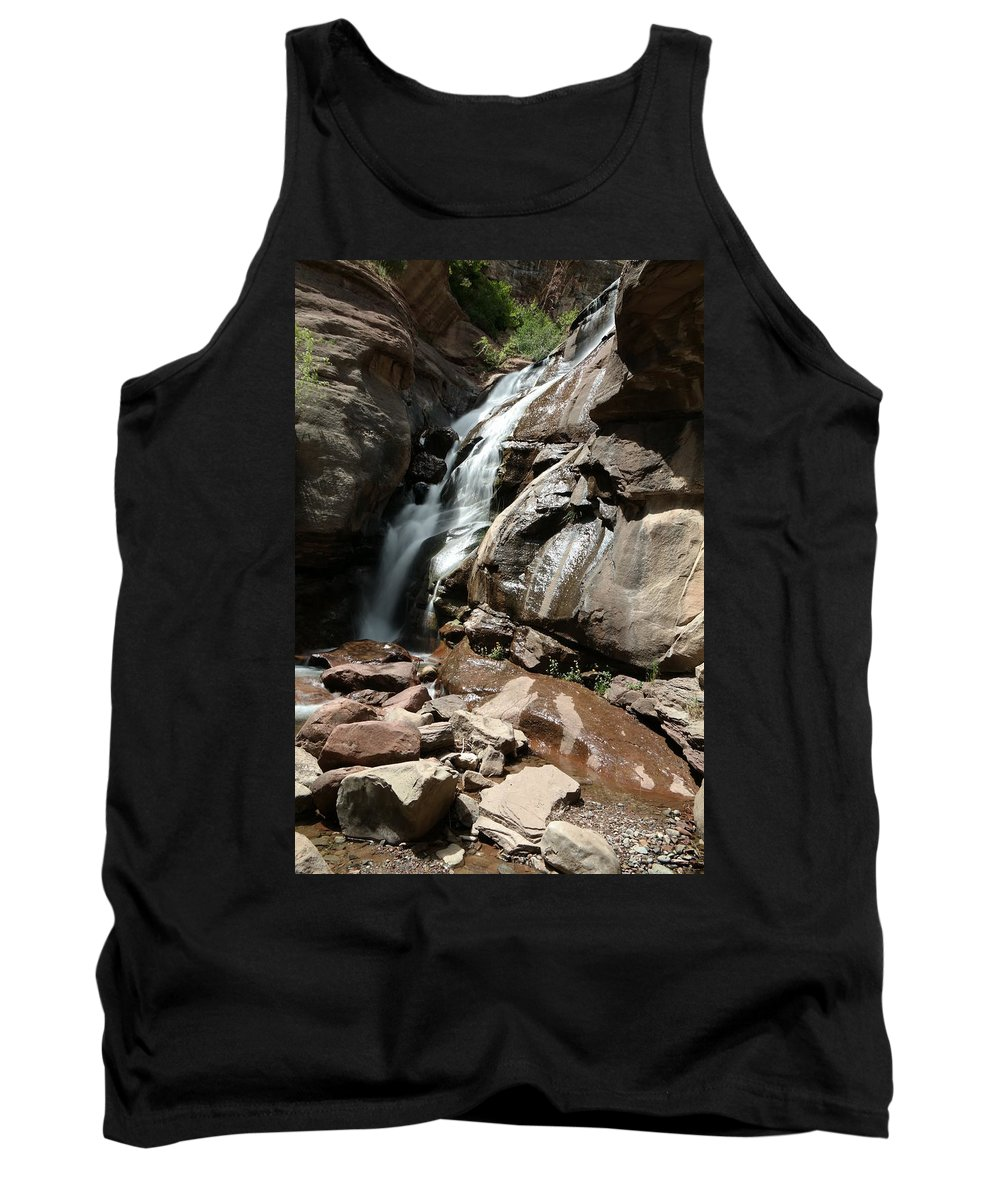 Waterfall Tank Top featuring the photograph Waterfall In Colorado by Jeff Swan