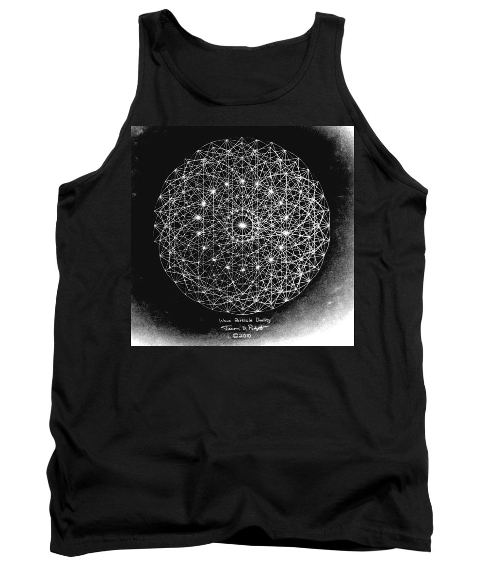 Jason Tank Top featuring the drawing Wave Particle Duality Black White by Jason Padgett