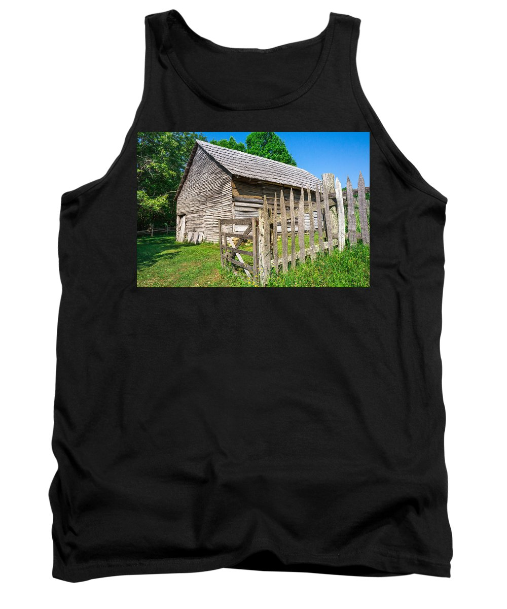 Cumberland Gap National Historical Park Tank Top featuring the photograph Weathered Old Country Barn by Mary Almond