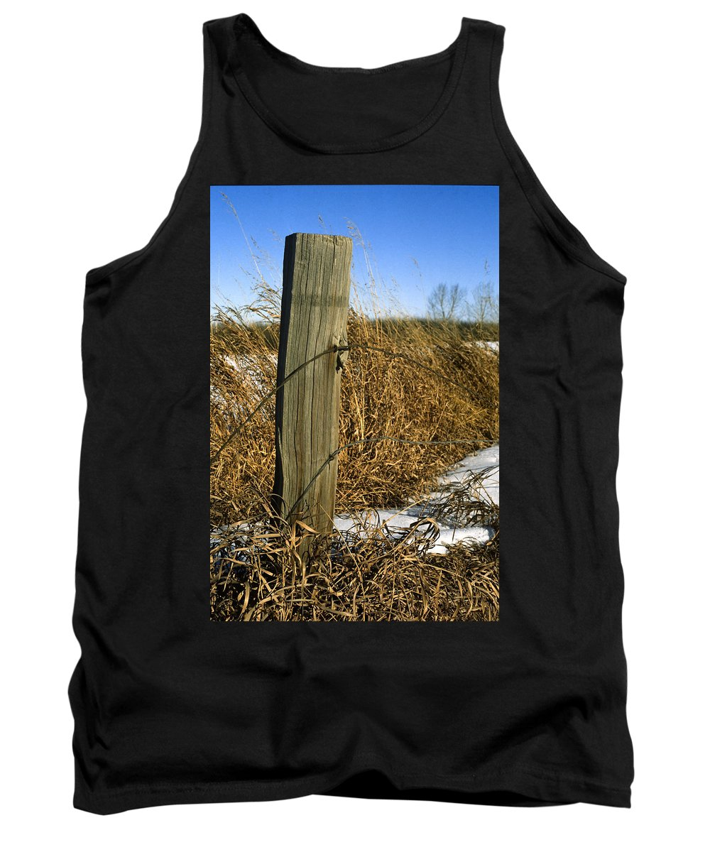 Agriculture Tank Top featuring the photograph Weathered Old Fence Post by Roderick Bley