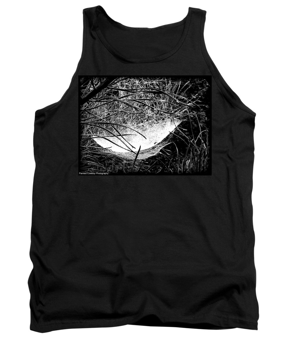 Web Tank Top featuring the photograph web1BW by Daniel Jakus