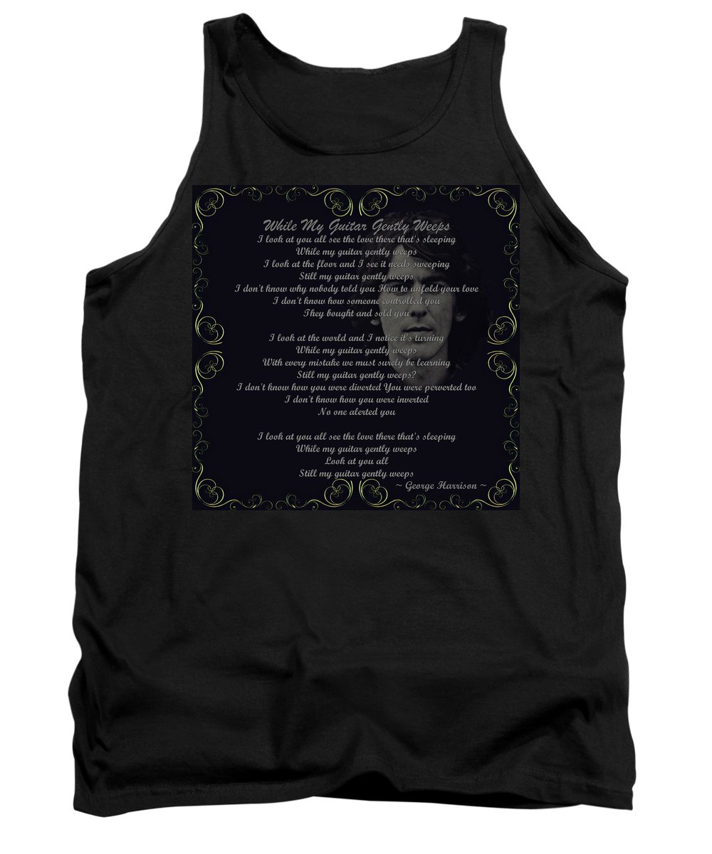 Harrison Tank Top featuring the digital art While My Guitar Gently Weeps Golden Scroll by Movie Poster Prints