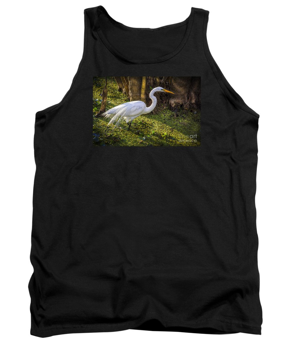 White Egret Tank Top featuring the photograph White Egret On The Hunt by Marvin Spates