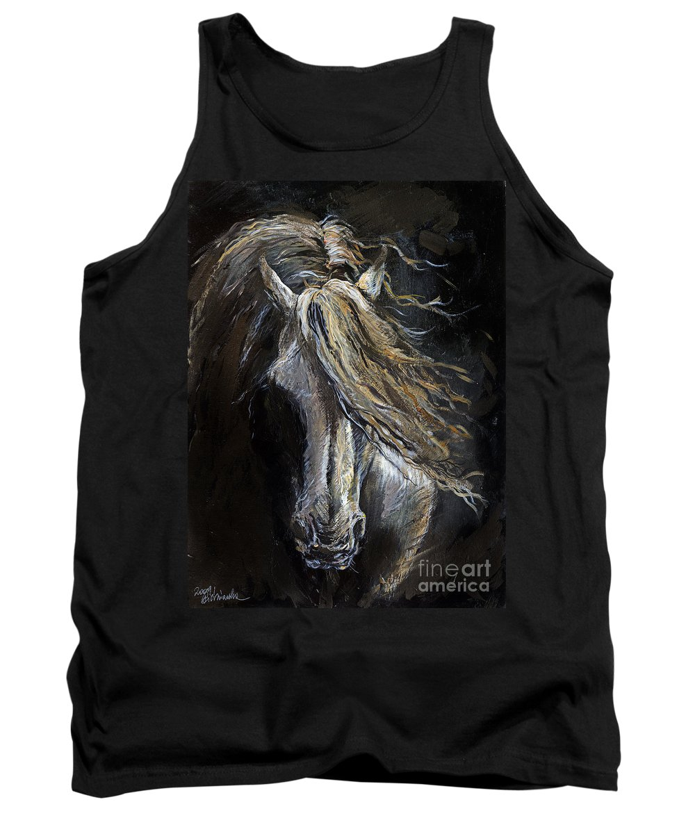 Horse Tank Top featuring the painting White Ghost by Angel Ciesniarska