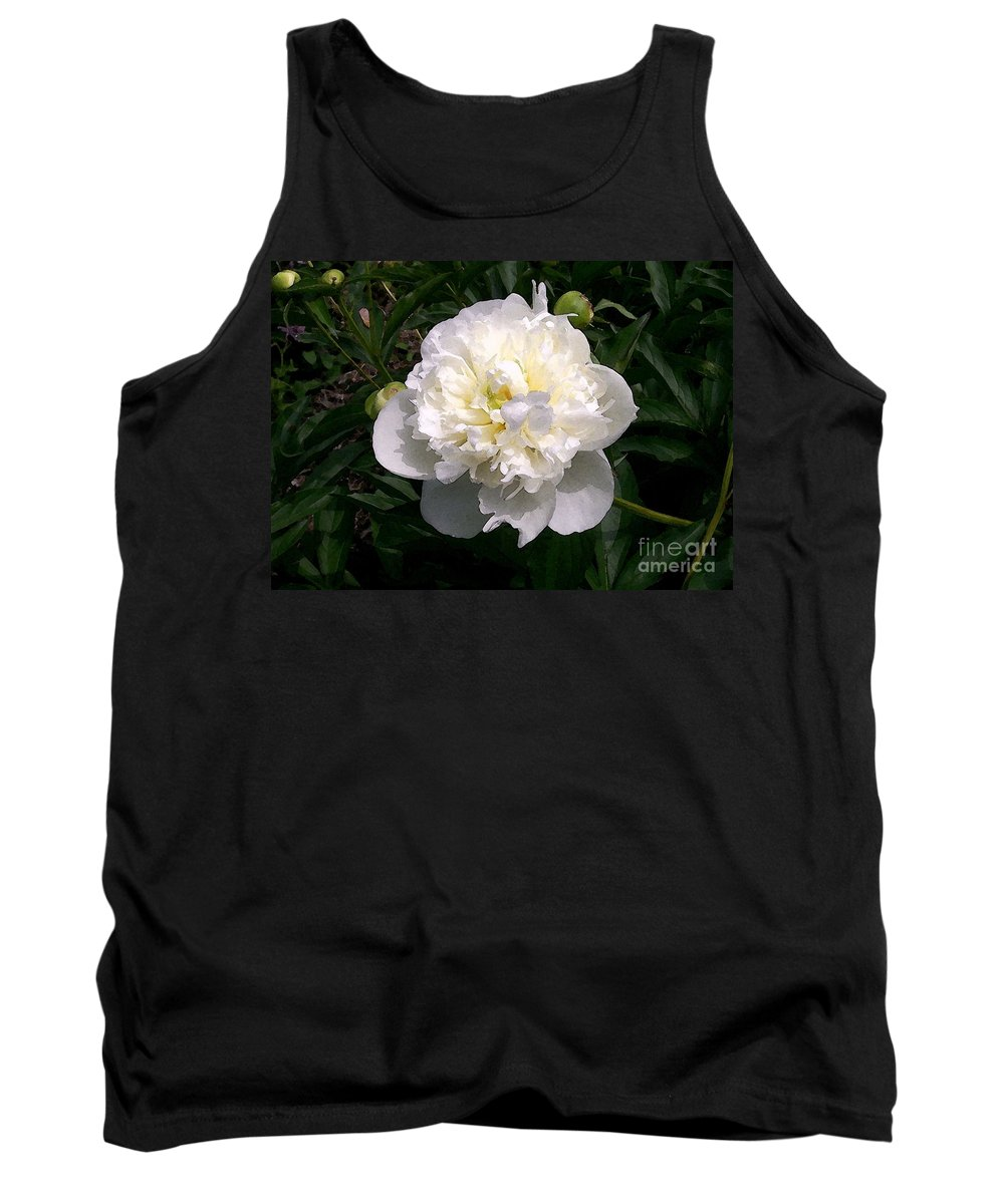 White Tank Top featuring the photograph White Peony Watercolor Effect by Laurie Eve Loftin