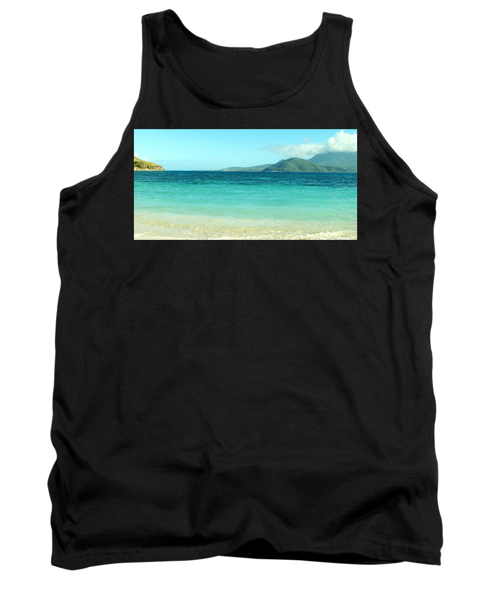 St Kitts Tank Top featuring the photograph White Sand Blue Sky Blue Water by Ian MacDonald