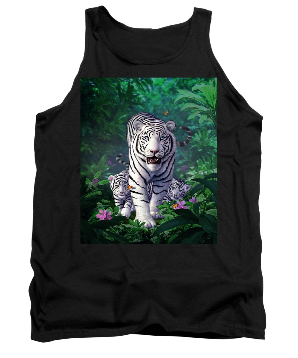 White Tigers Tank Top featuring the digital art White Tigers by Jerry LoFaro
