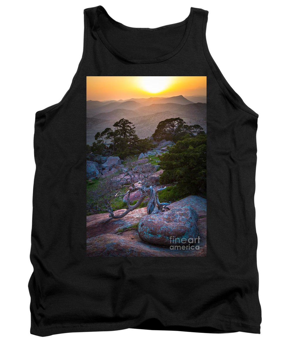 America Tank Top featuring the photograph Wichita Mountains Sunset by Inge Johnsson