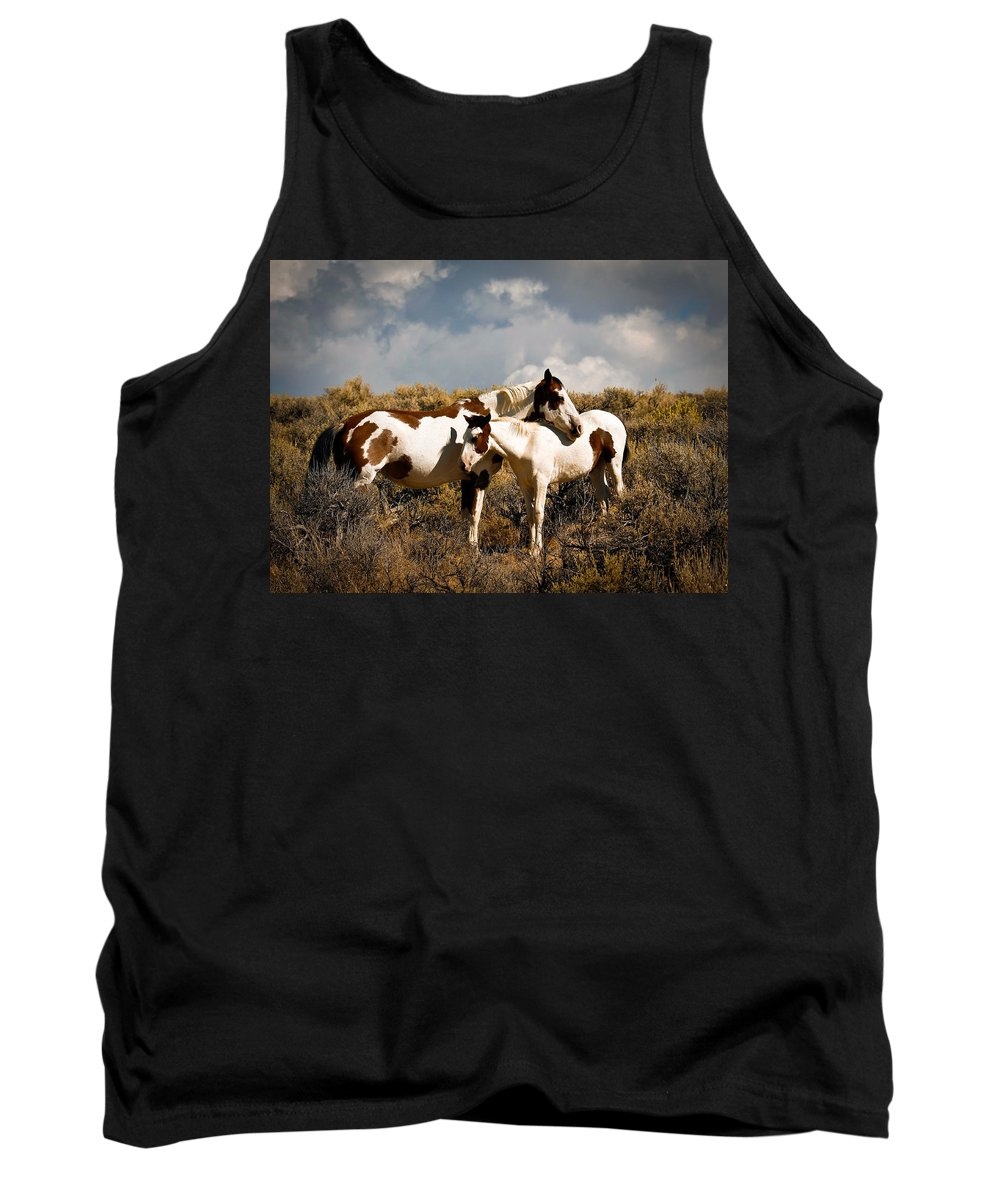 Horses Tank Top featuring the photograph Wild Horses Mother And Child by Steve McKinzie