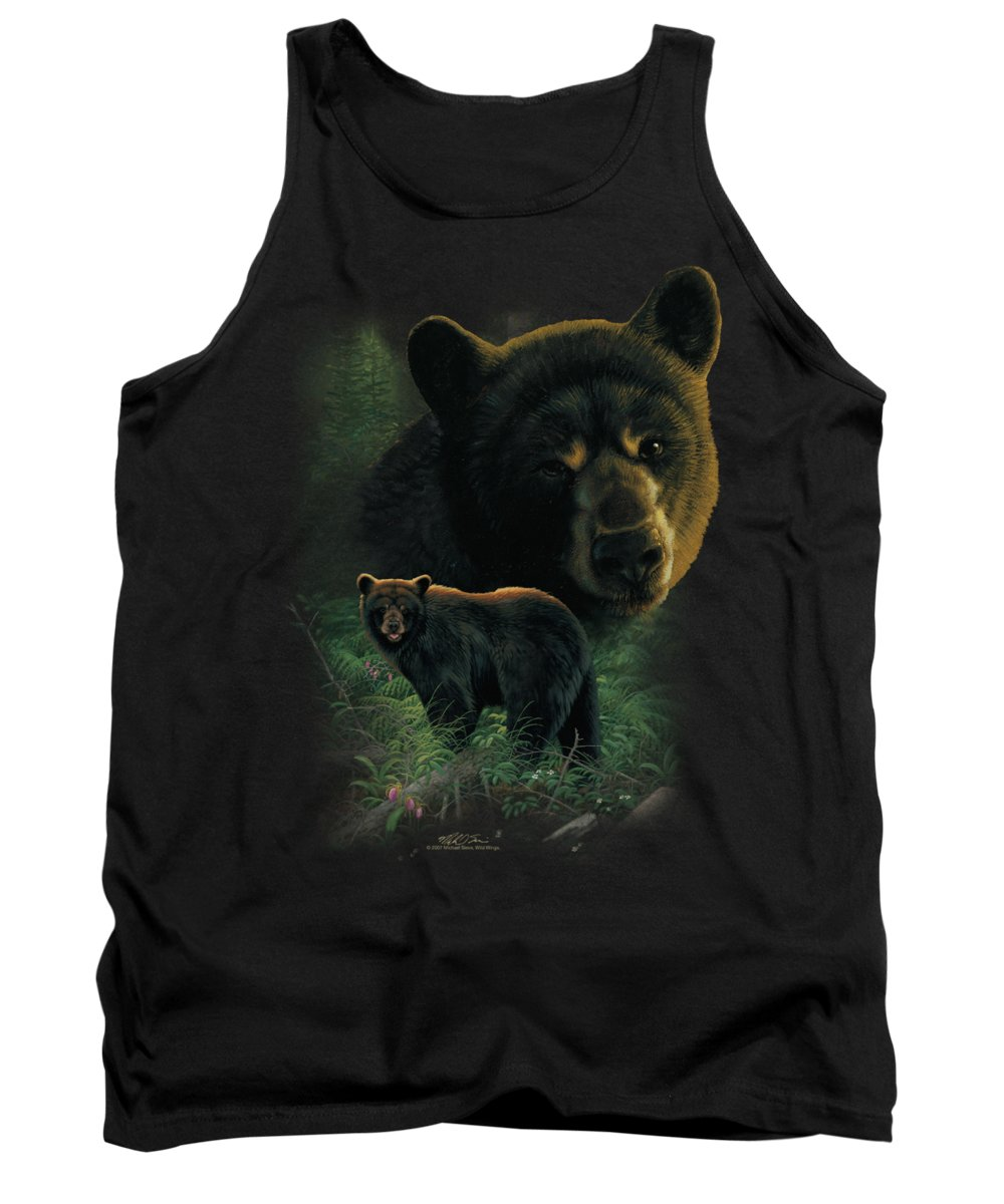 Wildlife Tank Top featuring the digital art Wildlife - Black Bears by Brand A