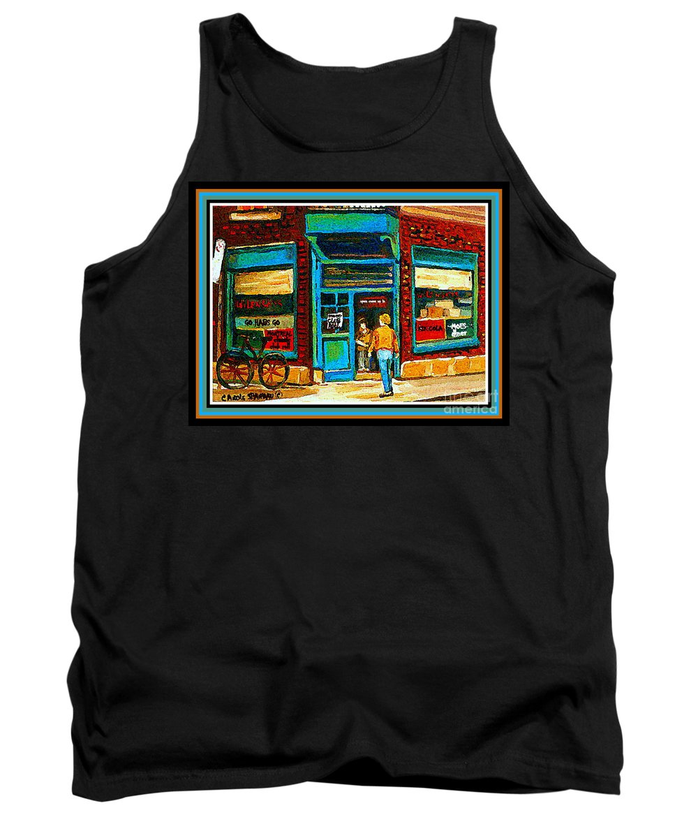 Wilenskys Deli Montreal Memories Tank Top featuring the painting Wilenskys Art Famous Blue Door Posters Prints Cards Originals Commission Montreal Painting Cspandau by Carole Spandau