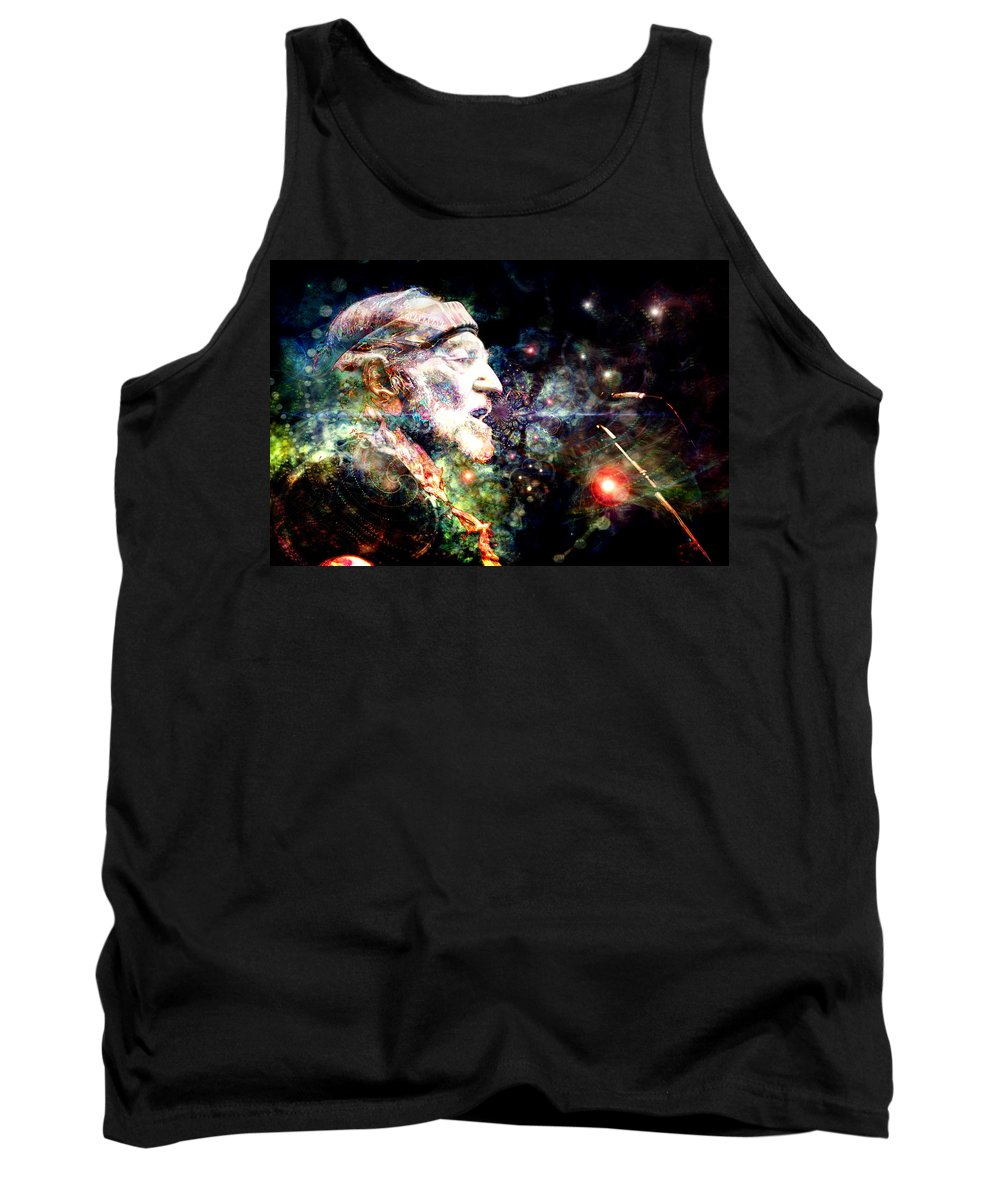 Willie Nelson Tank Top featuring the digital art Willie Nelson by D Walton
