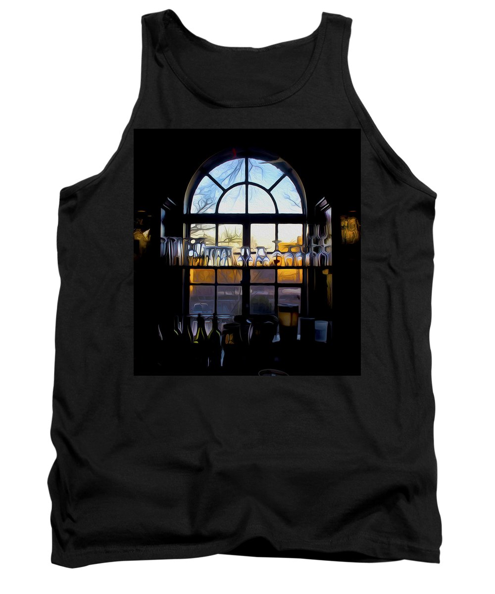 Widow Tank Top featuring the painting Window In A Bar by Tom Kostro