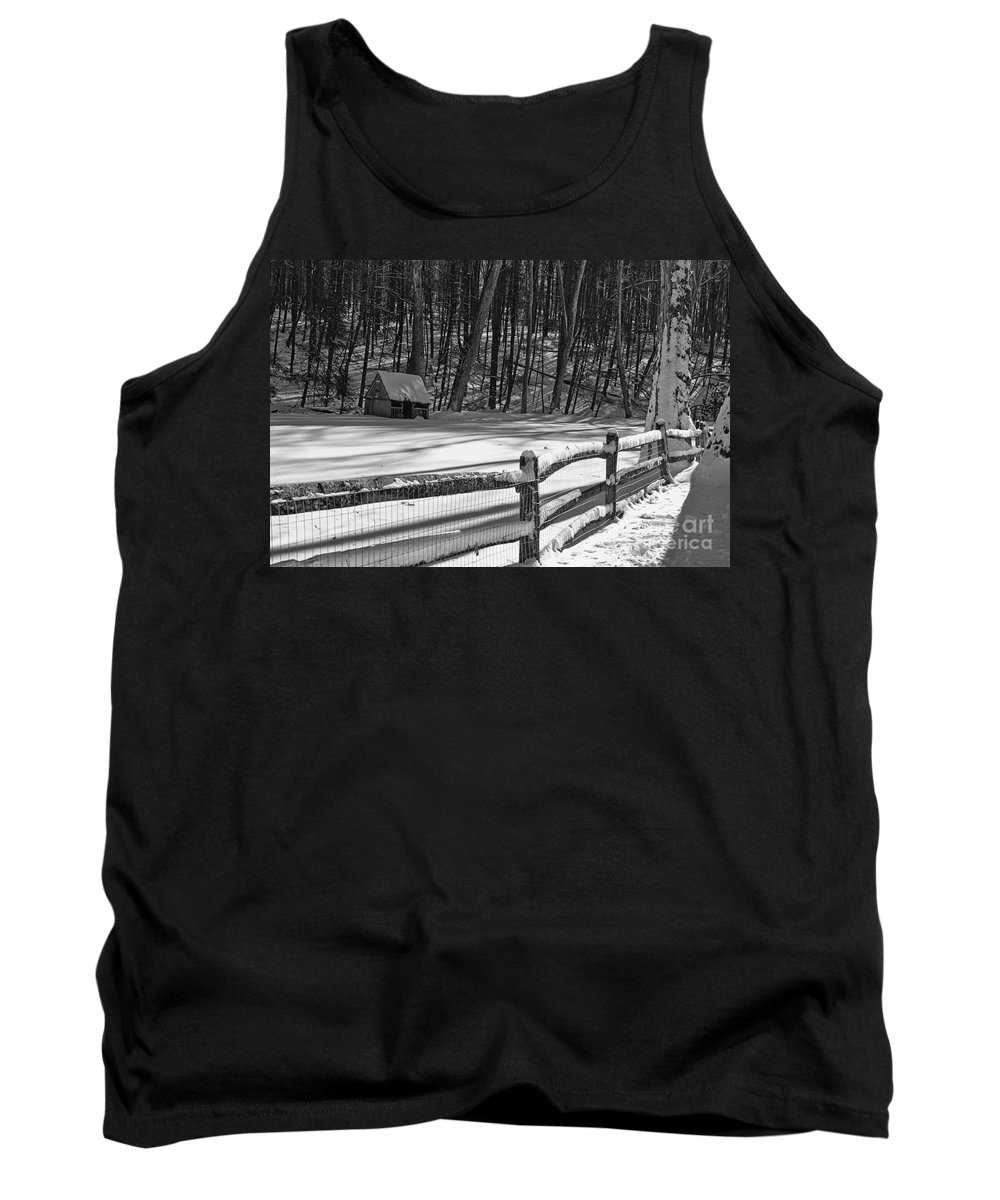 Paul Ward Tank Top featuring the photograph Winter Hut In Black And White by Paul Ward