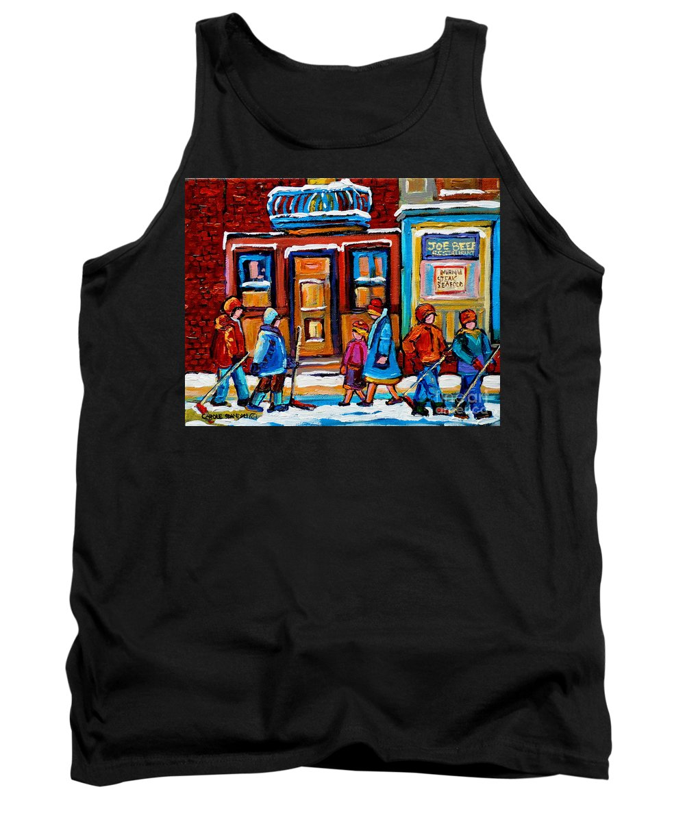 Montreal Tank Top featuring the painting Winter Street In Saint Henri by Carole Spandau
