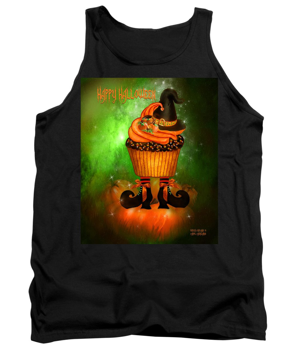 Halloween Art Tank Top featuring the mixed media Witch Cupcake 4 by Carol Cavalaris