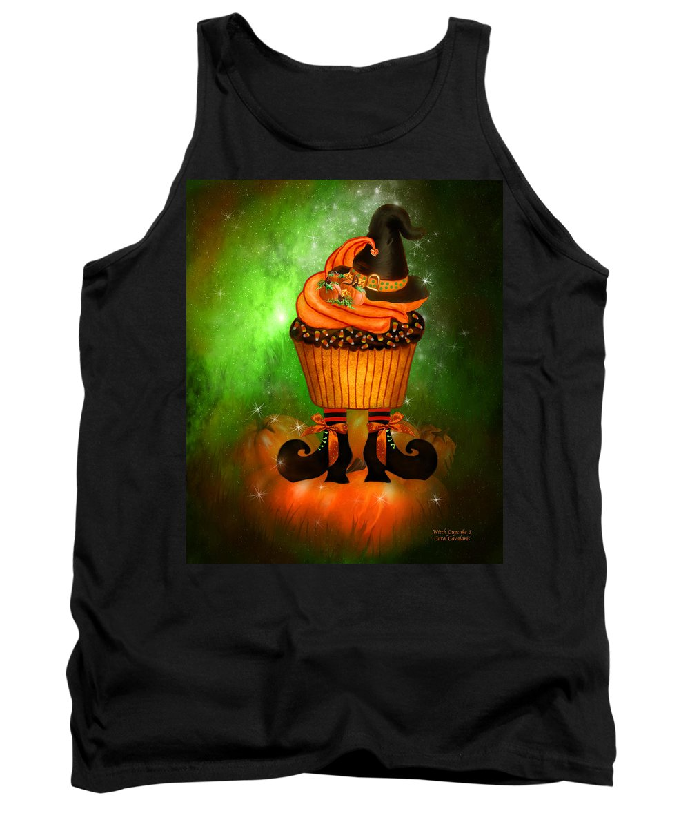 Halloween Art Tank Top featuring the mixed media Witch Cupcake 6 by Carol Cavalaris