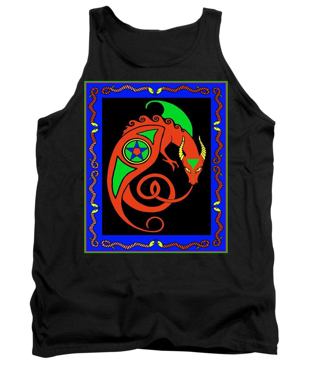 Mystical Tank Top featuring the digital art Witches Dragon by Vagabond Folk Art - Virginia Vivier