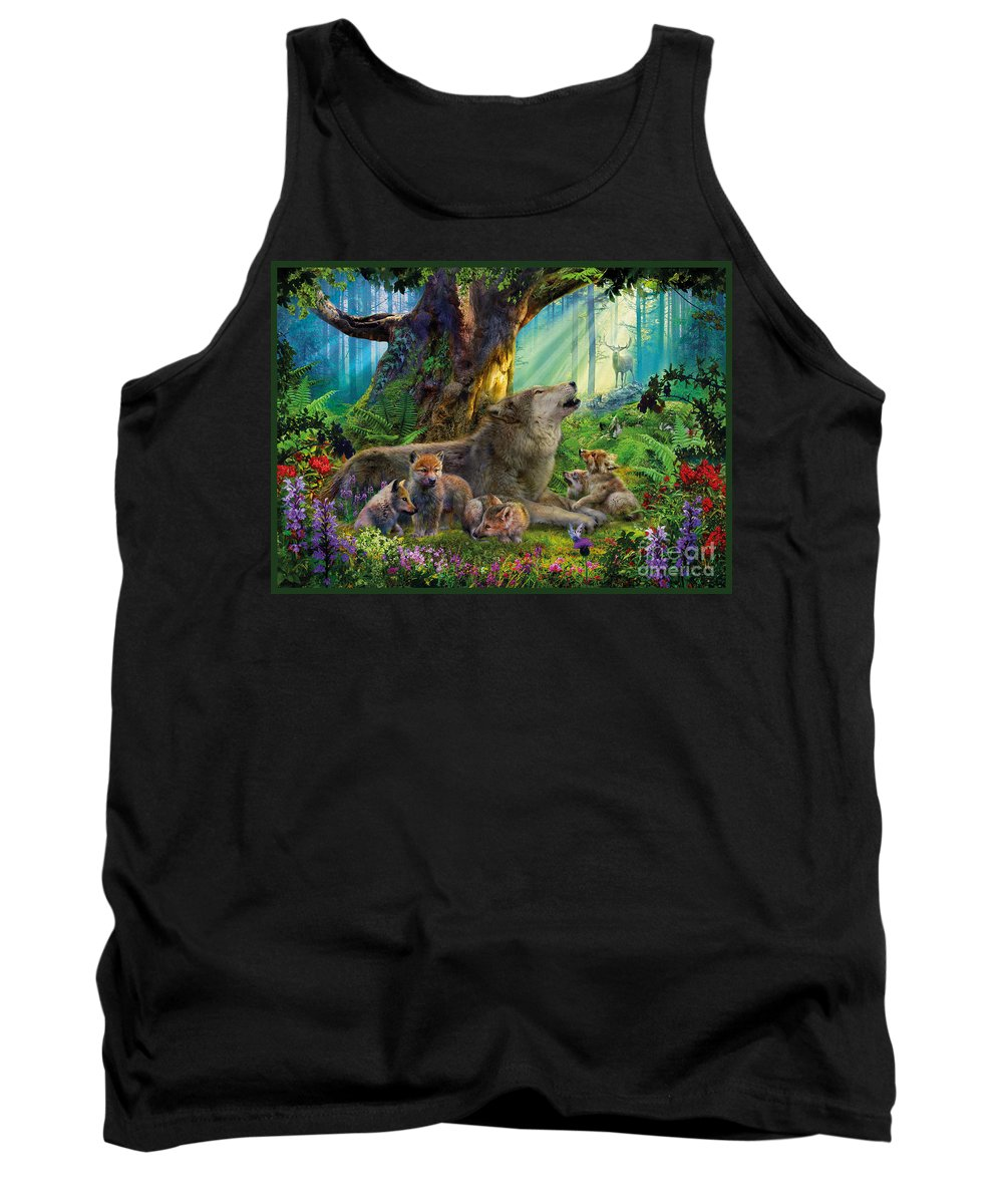 Wolf Tank Top featuring the digital art Wolf And Cubs In The Woods by Jan Patrik Krasny