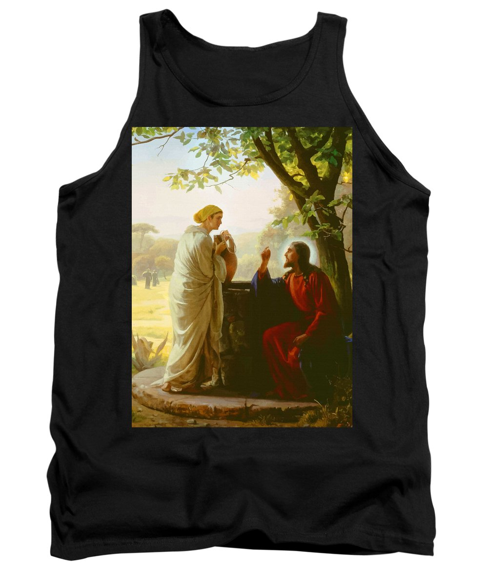 Retouched Tank Top featuring the digital art Woman At The Well by Don Kuing