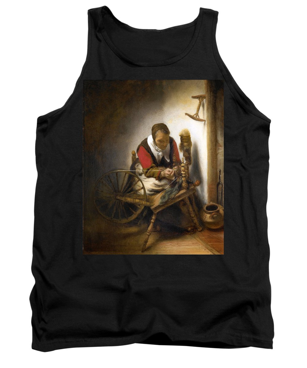 Nicolaes Maes Tank Top featuring the painting Woman Spinning by Nicolaes Maes