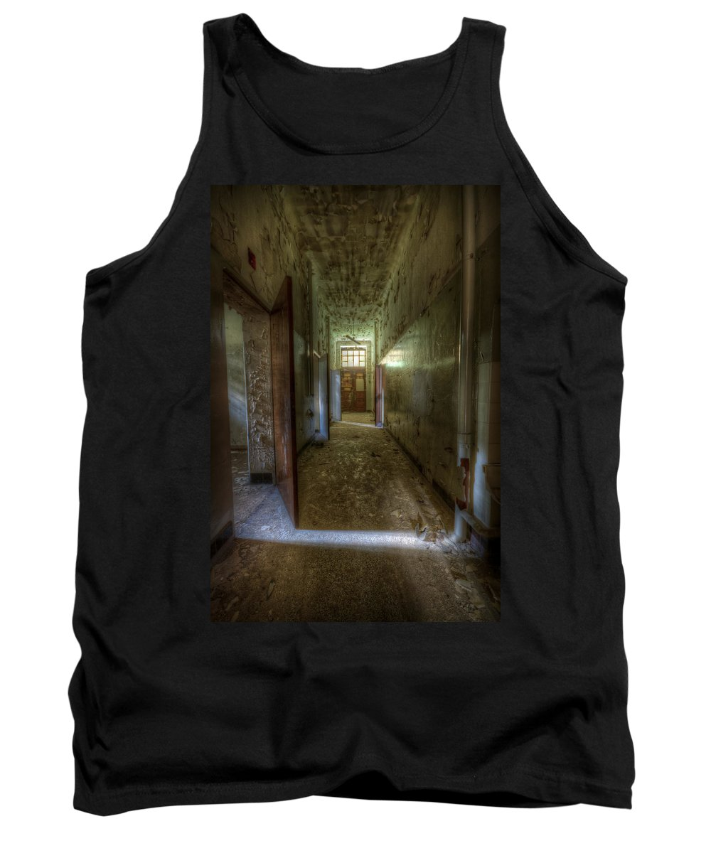 Urbex Tank Top featuring the digital art Wood Door Ward by Nathan Wright