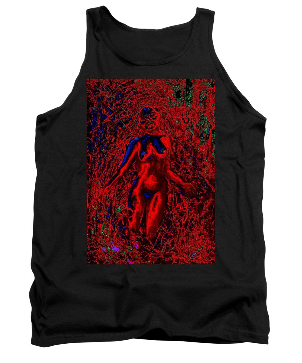 Genio Tank Top featuring the mixed media Wood Nymph In Red Power by Genio GgXpress