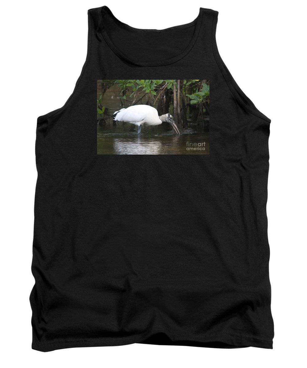 Wood Stork Tank Top featuring the photograph Wood Stork In The Swamp by Christiane Schulze Art And Photography